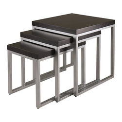 Winsome - Winsome Jared Nesting Table Set in Dark Espresso Finish - Winsome - Nesting Tables - 93322 - Jared line of contemporary occasional tables is made with pewter color enamel finished metal tube frames and wood tops.  The 3 piece nesting are space saving additions to active rooms in the house.