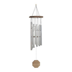 "GSC - 35"" Silver & Wood Contemporary Oriental Wind Chime - This gorgeous 35"" Silver & Wood Contemporary Oriental Wind Chime has the finest details and highest quality you will find anywhere! 35"" Silver & Wood Contemporary Oriental Wind Chime is truly remarkable."