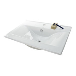 Caracalla - Elegant Rectangular Ceramic Self Rimming Bathroom Sink - Elegant rectangular modern and contemporary self rimming bathroom sink. Sink includes standard overflow and a single predrilled faucet hole. Made of high quality ceramic in a white finish. Designed by Caracalla in Italy.