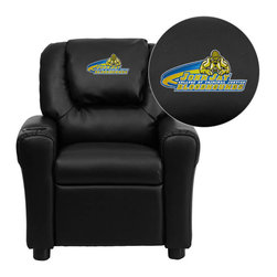 "Flash Furniture - John Jay College of Criminal Justice Leather Kids Recliner with Cup Holder and H - Get young kids in the college spirit with this embroidered college recliner. Kids will now be able to enjoy the comfort that adults experience with a comfortable recliner that was made just for them! This chair features a strong wood frame with soft foam and then enveloped in durable leather upholstery for your active child. This petite sized recliner is highlighted with a cup holder in the arm to rest their drink during their favorite show or while reading a book. John Jay College of Criminal Justice Embroidered Kids Recliner; Embroidered Applique on Oversized Headrest; Overstuffed Padding for Comfort; Easy to Clean Upholstery with Damp Cloth; Cup Holder in armrest; Solid Hardwood Frame; Raised Black Plastic Feet; Intended use for Children Ages 3-9; 90 lb. Weight Limit; CA117 Fire Retardant Foam; Black LeatherSoft Upholstery; LeatherSoft is leather and polyurethane for added Softness and Durability; Safety Feature: Will not recline unless child is in seated position and pulls ottoman 1"" out and then reclines; Safety Feature: Will not recline unless child is in seated position and pulls ottoman 1"" out and then reclines; Overall dimensions: 24""W x 21.5"" - 36.5""D x 27""H"