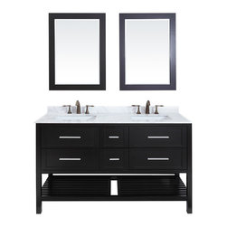 Eviva - Natalie Fabrico Bathroom Vanity, Espresso, 60, With Mirrors - Classic yet elegantly modern, the Natalie Fabrico bathroom vanity is a bold statement and a meaningful centerpiece for any bathroom. Inspired by the contemporary American design ethic and crafted without compromise, these vanities are designed to complement any decor, from traditional to minimalist modern.