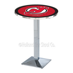 Holland Bar Stool - Holland Bar Stool L217 - Chrome New Jersey Devils Pub Table - L217 - Chrome New Jersey Devils Pub Table  belongs to NHL Collection by Holland Bar Stool Made for the ultimate sports fan, impress your buddies with this knockout from Holland Bar Stool. This L217 New Jersey Devils table with square base provides a commercial quality piece to for your Man Cave. You can't find a higher quality logo table on the market. The plating grade steel used to build the frame ensures it will withstand the abuse of the rowdiest of friends for years to come. The structure is triple chrome plated to ensure a rich, sleek, long lasting finish. If you're finishing your bar or game room, do it right with a table from Holland Bar Stool.  Pub Table (1)