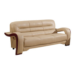 Global Furniture - Global Furniture USA 992-RV Bonded Leather Sofa in Cappuccino - Modeled to cater to both the desires of the contemporary or transitional home for design and comfort this sofa upholstered in bonded cappuccino leather and leather match will be a great choice for your living room. It features plush seating, and the curved details add the perfect finish touch.
