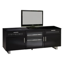 "Coaster - 700672 Connect-It TV Console - High gloss black TV console, features the CONNECT-IT power drawer, storage drawers and cabinet space for all your digital entertainment components. KD construction.; Maximum TV Size: 46""; Glossy black finish; Built-in easy adapter plug for all your digital accessories; Integrated power bar with surge protector, 2 USB ports, and Ethernet and telephone jacks; Dimensions: 59.75""L x 17.75""W x 23.50""H"