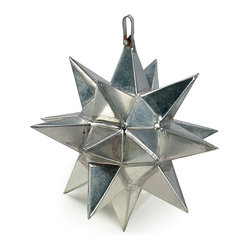 Mexican Artisans - Mexican Tin Star Ornament - This natural tin mini star ornament will be a festive addition to your special occasion or holiday decor. This small 3-d star ornament will look beautiful on a Christmas tree and also makes a perfect gift for friends and family. All of our star ornaments are carefully hand crafted by talented metal work artists in Mexico.