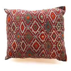 "Morrocan Berber Kilim Pillows - These unique and vintage Moroccan pillows are made using wool textiles. Intricate Berber geometric design elements or motifs figure prominently. Colorful and woven with symbols relating to natural and environmental elements with  diamond shapes, for example, represent ""femininity"" or womanhood. These one of a kind pillows have a unique ethnic and bohemian style, and are a great way to add a little Moroccan spice to your home decor."