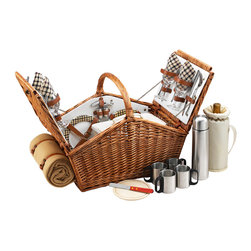 "Picnic At Ascot - Huntsman Basket for Four with Coffee Set and Blanket, Wicker W/London - The Huntsman Picnic Basket has a traditional style.  Hand crafted using full reed willow, this generously sized basket is made to last.  Easy to pack, carry, and enjoy, it includes quality components including ceramic plates and glass wine glasses. Includes: (4) ceramic plates, glass wine glasses, stainless flatware, cotton napkins, double walled insulated stainless coffee cups and (1) food cooler, insulated wine pouch, hardwood cutting board, spill proof salt & pepper shakers, wood handle cheese knife, stainless waiters corkscrew, 24oz stainless steel vacuum flask, and 50"" x 60"" fleece blanket. Natural Willow with leather straps, closure & hinge covers. Lifetime Warranty."