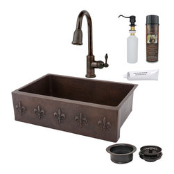 "Premier Copper Products - 33"" Apron Fleur De Lis Sink w/ ORB Faucet - PACKAGE INCLUDES:"