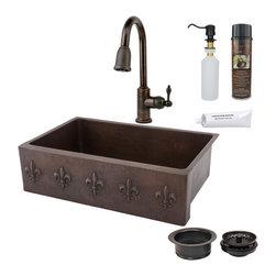 """Premier Copper Products - 33"""" Apron Fleur De Lis Sink w/ ORB Faucet - PACKAGE INCLUDES:"""