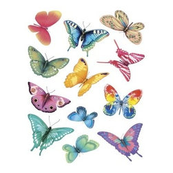 IdeaStix - Butterfly Magic 2-Sheet IdeaStix Accents Peel and Stick - IdeaStix Accents transform ordinary tiles, mugs, containers and such into beautiful art decorations.  Made from proprietary rubber-resin, Premium Peel and Stick Decor Accent 24 pieces are made in the shape of the design motif and come on 2 sheets (7.5 x 10.5 inches) and offer Quick and Easy solution for accentuating so many things.  With features like microwave safe, water/heat/steam-resistant, nontoxic, washable, removable and reusable, they are ideal for kitchen backsplash and bath/shower tile cecoration and also are great as labels for smooth and non-porous surfaces of plastic and glass containers, canisters, mugs, etc.  You can write on them with permanent markers.  IdeaStix Accents are probably the only products that have all these unique and wonderful features.