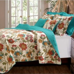 Greenland Home Fashions Clearwater Quilt Set - Oversized for more thorough mattress coverage, the Greenland Home Fashions Clearwater Quilt Set offers an abundance of color and comfort in a beautiful tropical theme. This prewashed and preshrunk cotton set features colors of gold, olive green, and red on a ground of antique white, with turquoise highlights in the print and solid turquoise on the quilt's reverse side. It includes one quilt and two pillow shams in your choice of size (only one sham is included with the twin set).About Greenland Home FashionsFor the past 16 years, Greenland Home Fashions has been perfecting its own approach to textile fashions. Through constant developments and updates - in traditional, country, and more modern styles ñ the company has become a leading supplier and designer of decorative bedding to retailers nationwide. If you're looking for high-quality bedding that not only looks great but is crafted to last, consider Greenland.