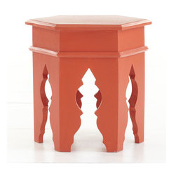 Moroccan Stool (Various Colors) - Because it is surrounded by so many cultures, Morocco is known for blending styles into eclectic mixtures and vibrant patterns and colors. Our Moroccan Stool is a great example of this blending of styles with its carved legs, traditional molding, and modern finish. Its height also makes it optional as a side table.