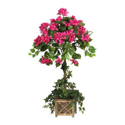 Bougainvillea Topiary with Wood Box - Feast your eyes on this lovely silk Bougainvillea topiary. A cupola shaped top filled with a mix of dainty pastel flowers and lush greenery sets the stage for this stunning creation. Detailed leaf covered vines extend the entire length of the stem, creating an authentic natural image. A rustic wooden country planter overflowing with cascading stems is a nice accent to this unique topiary masterpiece. Height= 34 in x Width= 22 in x Depth= 22 in