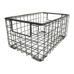 Wire Multpurpose Gym Baskets - Use vintage wire bins to store produce and other items. They're stylish enough that you don't need to hide them in a cupboard.