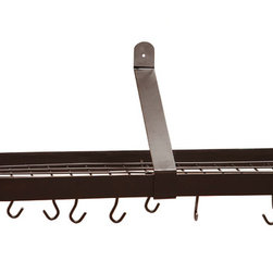 "Old Dutch International - Oiled Bronze Wall Pot Rack with Grid & 12 Hooks - Why waste cabinet storage space, when you could be putting your ceiling to work? Hang this sleek, sturdy rack in your kitchen and employ the 12 hooks and grid shelf (36"" x 9"" x 10¾"") to house all your pots in style."