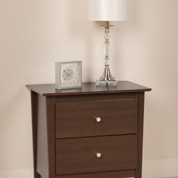 Prepac Berkshire 2 Drawer Night Stand in Espresso - Berkshire 2 Drawer Night Stand in Espresso features tapered legs, giving it an upscale, contemporary look. This night stand features 2 drawers that run on smooth, all metal roller glides with built-in safety stops. Brushed nickel knobs complete the style and add a shimmering contrast to the matte texture of the Espresso laminate finish.