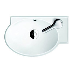 CeraStyle - Round Ceramic Corner Sink - This 18 inch rounded corner sink is made of high quality white ceramic and is ADA Compliant. Can be used as either a wall mounted or self rimming sink. Includes single faucet hole and overflow. Made and manufactured by luxury Turkish brand CeraStyle.