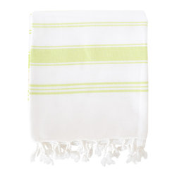 Organic Hamam Pestemal - Lime - This versatile pestemal (traditional Turkish bath towel) has been hand-woven on traditional style looms by families in the South of Turkey. Made from 100% certified organic cotton, it is absorbent, dries quickly and is very light-weight.