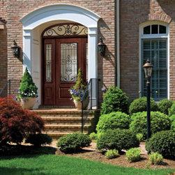 Fiberglass Door, with Wrought Iron Doorlite, Sidelites & a Custom Transom -