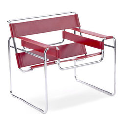 """Wassily Lounge Chair - Whenever I see a Breuer chair, I think of Rodney Dangerfield in Back to School, after his wife scolds him for throwing something on one saying """"Why does all of our furniture have names?"""" and she says """"You have no class Thorton!"""" Then as the movie progresses we get to see him do a Triple Lindy. If you haven't seen that movie, you really need to rent it. If you want your furniture to have names, pick up an iconic Wassily Leather Chair."""