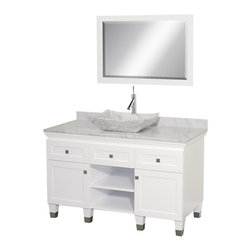 Wyndham Collection - 48 in. Eco-Friendly 2-Drawer Bathroom Vanity - Includes natural stone counter, backsplash, one vessel sink and matching mirror. Faucets not included. Engineered to prevent warping and last a lifetime. Highly water-resistant low V.O.C. finish. 12 stage wood preparation, sanding, painting and finishing process. Floor standing vanity. Deep doweled drawers. Fully extending bottom mount drawer slides. Two soft close concealed door hinges. Single hole faucet mount. Plenty of storage space. Brushed steel leg accents. Metal hardware with brushed chrome finish. White Carrera marble top. White Carrera marble sink. Made from zero emissions solid oak hardwood. White finish. Vanity: 48 in. W x 22.5 in. D x 36 in. H. Mirror: 24.25 in. W x 36.25 in. HCutting edge, unique transitional styling. A bridge between traditional and modern design, and part of the Wyndham Collection Designer Series by Christopher Grubb, the Premiere Single Vanity is at home in almost every bathroom decor, resulting in a timeless piece of bathroom furniture.