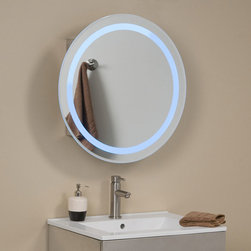 Lucent Round Stainless Steel Medicine Cabinet with Lighted Mirror - The Lucent Round Stainless Steel Medicine Cabinet will make a great addition to any contemporary bathroom. Its mirror is accented by a blue halo of light, easily accessible by a power button located behind the mirror. Interior shelving provides ample storage for your bathroom necessities.