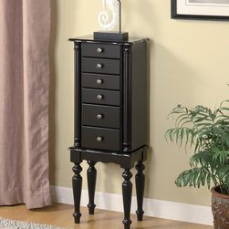 Coaster - Cappuccino Transitional Jewelry Armoire - Classic styled jewelry armoire in a black finish with antique finished hardware and black felt lining. Simple assembly is required.