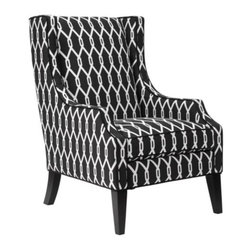 Z Gallerie - Protege Wing Chair - Slip into the comforts of our Protégé Wing Chair and embrace the marriage between style and comfort. Crisp and bold, our Protégé Wing Chair brings elevated style into the surrounding décor with its clean-lines and chic black and white graphic repeat pattern.  Expertly crafted with a hardwood frame, wire springs, and black piping detailing both chair and cushion, our Protégé Chair layers you home in luxury.