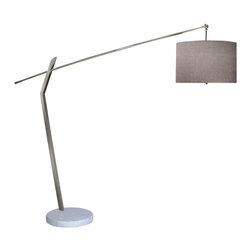 Joshua Marshal - Two Light Polished Chrome Ash Woven Linen Shade Floor Lamp - Two Light Polished Chrome Ash Woven Linen Shade Floor Lamp