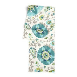 Aqua Suzani Custom Table Runner - Get ready to dine in style with your new Simple Table Runner. With clean rolled edges and hundreds of fabrics to choose from, it's the perfect centerpiece to the well set table. We love it in this eclectic blue and aqua outdoor print where suzani meets sunshine.