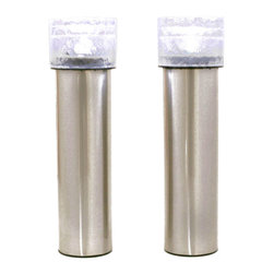 LampLust - Cool White Stainless Steel Iced Solar Bollard Light, Set of 2 - Perfect for lighting up your home's garden, patio or walkway, these bollard lights offer a cool white light to brighten up those dimmer outdoor areas. Each light in this set of 2 includes a built in rechargeable battery, solar panel, and garden stake for simple, wireless presentations. Place your lights anywhere they can receive direct sunlight and the solar panels will charge during the day and automatically power on in the evening each day.