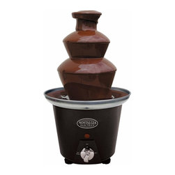 Nostalgia Products - Electrics Mini Chocolate Fondue Fountain - Includes four fondue forks. Two tier tower with base. Heat and motor control. Holds upto 1.5 pounds of melted chocolate. Auger style without pump. Multiple dipping uses. Easy to use and clean. Wattage: 40 W. Warranty: 90 days. Made from plastic. Black colorThe Electrics Mini Chocolate Fondue Fountain will impress guests with elegance and style at any special event. This chocolate fountain creates a cascade of sweetness that will add mouth-watering fun to any occasion. Simply pour the recommended amount of melted white or dark chocolate into the base and switch on the motor. Watch as the chocolate is carried to the top of the tower where it flows down each tier in a mesmerizing display. Provide guests with fresh strawberries, marshmallows, pretzels, cookies, and other goodies for dipping. Cheese and barbeque sauces may also be used. The fountain is a beautiful addition to any dining table or casual gatherings with friends and family.