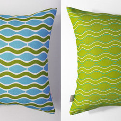 Kaypee Soh - Wave Pillow - Lime Green - Another take on ocean ripples venturing the sea make this design a classic-go-with-anything pillow design. �100% LinenHidden red zipper closureFeather/down hypoallergenic insertHandmade in USA