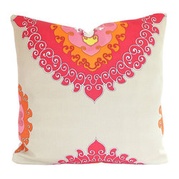 The Pillow Studio - Schumacher Super Paradise Punch Pillow Cover- Indoor Outdoor Fabric - I love this large scale, Asian-inspired medallion design and the bold color combination always makes me think of summer.