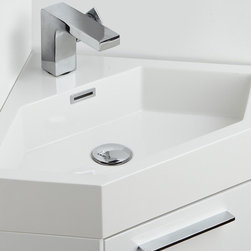 "Coda 14 White Modern Corner Bathroom Vanity - The Coda is a corner vanity and perfect as a space saver.  It features an all white appearance that just oozes freshness.  It has a bottom cabinet for storage and a great matching sink.  This vanity comes with everything you need to install.  Many faucet styles to choose from.  Optional matching medicine cabinet available.Dimensions of Vanity:  14""W x 14""D x 34""H. Materials:  MDF Cabinet, Acrylic Countertop/Sink with Overflow. Single Hole Faucet Mount (Faucet Shown In Picture May No Longer Be Available So Please Check Compatible Faucet List). P-trap, Faucet, Pop-Up Drain and Installation Hardware Included. Medicine Cabinet Not Included"
