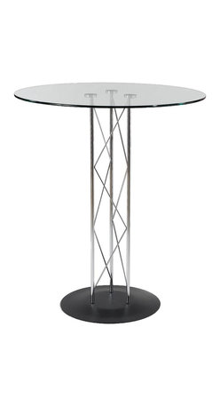 """Eurø Style - Trave Bar Table with Glass Top and Textured Black Base - Change the look of your bar or pub area with sleek design of the Trave Bar Table with Glass Top and Textured Black Base. This modern table will create a stunning atmosphere and makes every meal special with its design. This price is for Table with 32"""" Glass Top."""