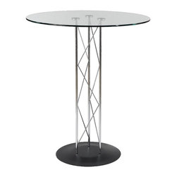 "Eurø Style - Trave Bar Table with Glass Top and Textured Black Base - Change the look of your bar or pub area with sleek design of the Trave Bar Table with Glass Top and Textured Black Base. This modern table will create a stunning atmosphere and makes every meal special with its design. This price is for Table with 32"" Glass Top."