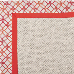Frontgate - Outdoor Parkdale Rug in Sunbrella Criss Cross Pink/Melon White Wicker - 5' x 8' - Wicker-textured base is woven in soft and durable olefin. Choose from two base colors on White Wicker borders. Cleans with soap and water. Sunbrella® fabric is resistant to fading, staining, and mildew. Rug pad recommended (sold separately). Our Parkdale Rug with colorful borders match the premium all-weather fabrics featured on our replacement cushions, pillows, draperies and umbrellas. This all-weather rug will work just as beautifully indoors as it does outside.  .  .  . Sunbrella fabric is resistant to fading, staining, and mildew .  . Made in the USA.
