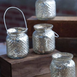 Hanging Hobnail Mercury Glass Votive Holder with Wire Hanger - These votive holders shine on their own. I love the pearly, glowing nature of the mercury glass.