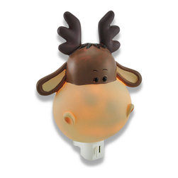 Children`s Cute Baby Moose Head Night Light Nite Lite - Your little one will drift off to sleep in the warm comforting glow this cute baby moose head night light will cast during the nighttime hours while adding a fun accent to their room! Made of cold cast resin, it measures 5 1/2 inches high (14 cm), 4 3/4 inches wide (12 cm) and 2 1/2 inches deep (6 cm). It has a 360 degree swivel plug to accommodate any outlet, and uses a 7 watt (max) type C bulb (included!). The light has an on/off switch on the front, and is recommended for children ages 6 and up.