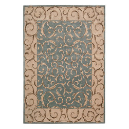 Nourison - Nourison Versailles Palace Oriental Srolls Aqua 8' x 11' Rug by RugLots - Fit for royalty, as the name suggests! This collection features stunningly elegant designs inspired by 18th Century French carpets and handmade with intriguing articulation from the highest quality wool. Features a dense, luxurious pile and hand-carved for added dimension with delicate accents that are a pleasure to both look at and touch.