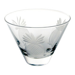 Rolf Glass - Pineapple Martini Glass, Clear, 3.375x4.625, Tumbler - Welcome guests with this traditional symbol of hospitality. Each piece is diamond-wheel engraved.  Dishwasher safe.  Made in USA.