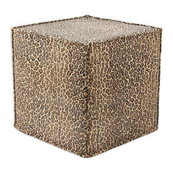 """Chooty - Chooty Bobcat Camel Simply Soft Collection 17"""" Square Seamed Foam Ottoman - Insert 100 High Density Foam, Fabric Content 65 Poly 35 Cotton, Color Camel, Brown, Black , Hassock 1"""