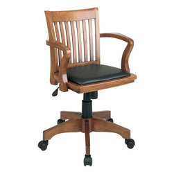 "Office Star Products - Deluxe Bankers Chair with Vinyl Padded Seat in Fruitwood Finish / Black Vinyl - Deluxe Bankers Chair with Vinyl Padded Seat in Fruitwood Finish / Black Vinyl; Vinyl Padded Seat; Pneumatic Seat Height Adjustment; Locking Tilt Control; Adjustable Tilt Tension; Wood Covered Steel Base; Dual Wheel Carpet Casters; Dimensions: 23.75""W x 22.75""D x 37""H"