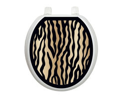 Zebra - Toliet Tattoo (Round) - You know how your toilet seat is so plain, you'd like to embellish it, but you don't want to use the old fashioned, germ harboring rug and you don't want to invest in a decorative toilet seat? Well... Lena Fiore' Inc. has the solution...Toilet Tattoos.
