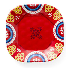 Q Squared NYC - Montecito Red Appetizer Plate, Tile Set/6 - Transport your dining table to historical Montecito with the beautiful, vibrant colors of this collection, inspired by the intricate tiles and textures of the romantic city.