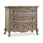 """Hooker Furniture - Hooker Furniture Chatele Three-Drawer Fretwork Nightstand - Come home to your little castle. Relax in a livable luxury with Chatelet, a whole home collection inspired by timeless farm style antiques found in """"little castles"""" of Old World Europe. Three drawers. All drawers are wallpapered-lined. Electrical outlet. Poplar and Hardwood Solids with Resin and Antique Mirror with a Solid Wood Edge Top. Dimensions: 37""""W x 20""""D x 33""""H."""