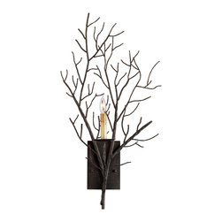 Kathy Kuo Home - Winterfall Rustic Lodge Tree Branch Organic 1 Light Wall Sconce - Bring nature inside your country cottage or rustic lodge with this unique tree branch wall sconce.  Bronze metal artistry creates the look of a climbing branch and casts beautiful shadows from the bulb nestled inside their clutches.  Place one on each side of your hearth for a dramatic look.
