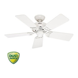 "Hunter - Hunter 52065 White Hudson Hudson 42"" 5 Blade Ceiling Fan - Blades - Features:Includes (5) Reversible White / Light Oak Blades3"" Downrod IncludedSuitable for Use in Dry Locations OnlyCovered by the Hunter Limited Lifetime WarrantyProduct Technologies:WhisperWind Motor - The WhisperWind motor, available on most Hunter Fan models, delivers ultra-powerful air movement with whisper-quiet performance. Trust WhisperWind to produce the cooling power you want without the noise you donÂ't.Dust Armor - Dust Armor is HunterÂ's patented nanotechnology which repels dust from hard to reach fan blades. Dust Armor coating has been applied to the blades of this ceiling fan, reducing dust build up by up to 58% compared to conventional fan blades.Blade Specifications:Primary Blade Finish: WhiteSecondary Blade Finish: Light OakNumber of Blades: 5Blade Span: 42""Blade Pitch: 13-Motor Specifications:Motor Size: 172mm x 12mmSpeeds: 3CFM (High): 3790RPM (High): 275Energy Efficiency (CFM/Watt): 59Amperage: 0.52 AmpsSimilar Models:52065 (White Finish with Reversible White / Light Oak Blades ) (This Model)52066 (Brushed Nickel Finish with Reversible Maple / Cherry Blades )52067 (New Bronze Finish with Reversible Black Walnut / Medium Oak Blades )Accessories (Add to Cart to View All Options):A Variety of Light Kits are AvailableRemote and Wall Controls AvailableSloped Ceiling Adapter for Angles up to 45-Hunter combines 19th century craftsmanship with 21st century design and technology to create ceiling fans of unmatched quality, style, and whisper-quiet performance. Using the finest materials to create stylish designs, Hunter ceiling fans work beautifully in today"