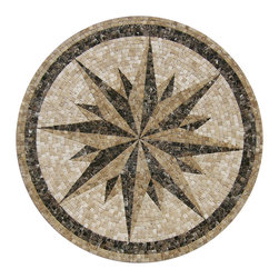 "Floor Medallions Online - 36"" Mosaic Medallion - Penasco - Reminding us vaguely of a journey at sea, the Penasco mosaic medallion is an update on the classic compass motif."